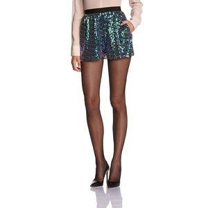 BCBG Shorts Sequin Green Black Elastic